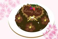 バレンタインのチョコレートケーキとナデシコの花