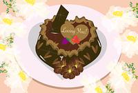 バレンタインのチョコレートケーキと白い花