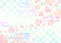 桜と市松模様