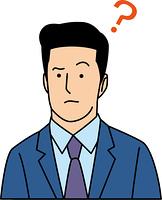 疑問を抱く30代ビジネスマン