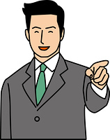 指差しをする20代ビジネスマン