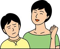 苦笑いの小学生男子と笑顔の母