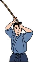 木刀を構える剣道着姿の30代男性