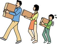 家族3人で引越荷物を運ぶ