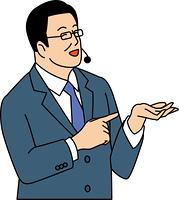 商品説明をする50代ビジネスマン