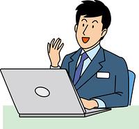 笑顔で仕事をする20代ビジネスマン