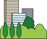 オフィス街と街路樹