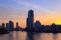 東京 夕暮れ時の高層ビル群