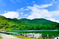 新緑の湖面とボート