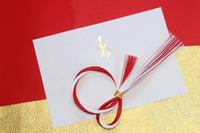 正月のランチョンマットと和紙と紅白の水引リース