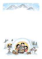 【はがき】和風イラスト・雪・冬景色・かまくら