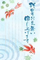 【残暑見舞い】和風イラスト・夏・金魚