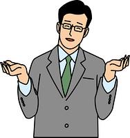 苦笑して手を広げる30代ビジネスマン