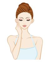 頬に触れる女性 - スキンケア 目を閉じる