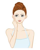 頬に触れる女性 - スキンケア