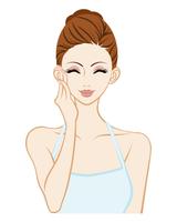 頬に触れる女性 - 満足 - スキンケア
