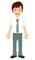 男子高校生 ネクタイ 半袖