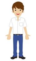 男子高校生 白ワイシャツ 半袖