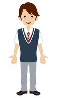 男子高校生 紺色ベスト 半袖