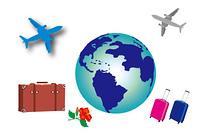地球と旅行鞄と飛行機の休暇旅行の素材