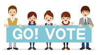 投票を呼びかける高校生 - プラカード