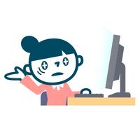 パソコンと疲れたOL女子