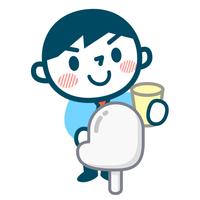 検尿採取する男性