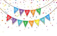 お誕生日をお祝いする旗と紙吹雪