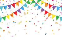 パーティーの三角旗と紙吹雪