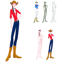 Representation of a woman standing in casual clothing