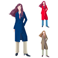Representation of a woman in trench coat