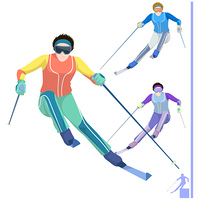 Representation of a skier with ski pole and ski