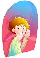 Representation of a boy shouting