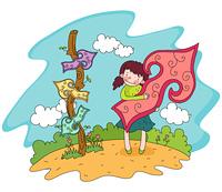 Representation of a girl holding arrow sign