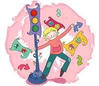 Representation of a boy swinging around signal