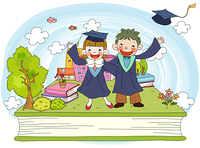 Representation of girl and boy in graduation gowns
