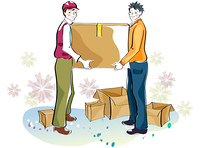 Representation of workers carrying box