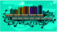 Illustration of skyscrapers against green background