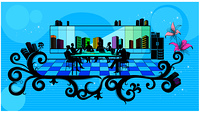 Illustration of silhouette image of businessmen in conference room