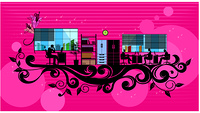 Illustration of silhouette image of businessmen working in office