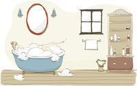 Illustration of woman taking bath in bathroom