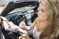Female driver fills in speeding tcket