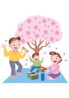 仲良くお花見をする家族