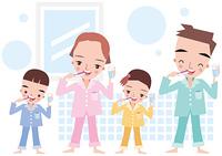 家族で歯磨き