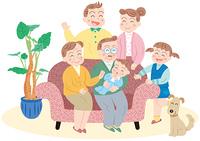 ソファのまわりに集まる家族