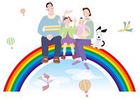 虹の上に腰掛ける親子