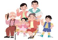 ベンチに集まる家族