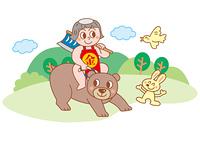熊にまたがる金太郎