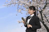 卒業式 桜の下の女子高生
