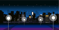 City Skyline with street light at night